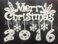Wholesale Merry Christmas Letter Window Stickers Glass static sticker Decorative Stickers for Pearl cotton patch Via FedEx ship
