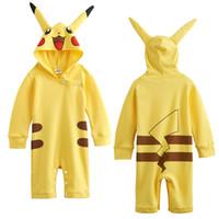 achat en gros de mignon cosplay fille-Baby Girls Pikachu Romper Combinaisons drôles de costume Costume avec chapeau Cute Cosplay Long Sleeve 100% coton