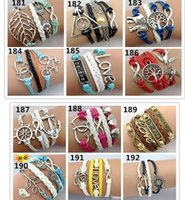 believe designs - 100pcs Designs Leather Bracelet Antique Cross Anchor Love Peach Heart Owl Bird Believe Pearl Knitting Bronze Charm Bracelets