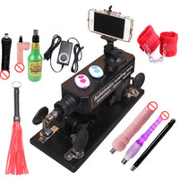Cheap Automatic Sex Machine Gun Set for Men  Women Fucking Machine with Masturbation Cup, Big Dildo,Couple Game Sex Handcuffs and Leather Whip etc