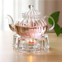 tea sets wholesale - New Arrival Glass Tea Pot With Infuser For Sale ml Glass Stripe Pumpkin Teapots
