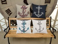 Wholesale Sea Helm Printed Cushion Covers Square Anchor Pattern Marine Linen Cotton Plain Throw Pillow Case New Year Decorative Washable Pillowcase