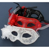 Wholesale 1 Venetian Lace Feather Masquerade Mask Half Face Mask Women Party Mask Halloween Party Eye Masks