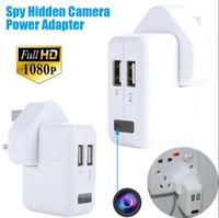 al por mayor tapones de los agujeros-1080P Potencia HD US / UE / AU Adaptador espía cámara ocultada cámara de enchufe de cámara Vigilancia encubierta Cámaras espía sin dispositivo de escucha agujero de la cámara