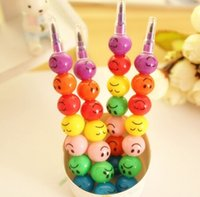 Pencils art crayons - 2016 Boligrafos Stationery Pens Funny Expression Of Sugar coated Haws Color Crayon For Graffiti Pen Cartoon Ballpen