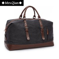 leather weekend bags - Vintage canvas men travel bags women weekend carry on luggage bags sport leisure duffle bag large capacity tote business bolso