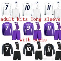 Wholesale 2016 Long Sleeve reAL Madrid Jersey Kits Jerseys Sets Away James Serigo Ramos Bale Real Kroos Morata Ronaldo Uniform Set