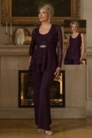 beads and pieces - 2016 Ursula of Switzerland Three Pieces Mother Of The Bride Pantsuit Purple Lace jacket And tunic With Chiffon pants Mother s Dress