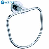 Wholesale AZOS Wall Mounted Towel Rings Chrome Polish Finish Silver Color Toilet Accessories Bathroom Shower Hardware Components GJQC2607L