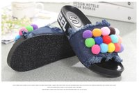 ball room shoes - new summer denim fashion casual sweet small colorful balls charm Posey peep toe women tassels slippers shoes