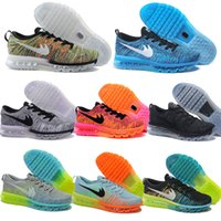 Wholesale 2014 Max Size US Sneakers For cheap Women Men Air Mesh Black Grey White Navy Blue Flykniting Red Colors Casual Running Shoes