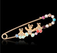 bear sparkle - Cute Three Little Bear Crystal Pins Gold Plated Sparkling Rhinestone Scarves Pins Women Wedding Party Brooch Fashion Jewelry DCBJ890