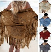 Wholesale S XL Colors Women Casual Tippet Faux Suede Leather Cut Out Summer Beach Cover Up Kimono Long Fringes Tassels Thin Coat Cardigan Jacket