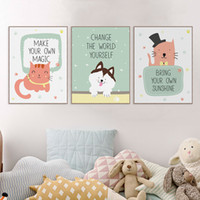 Wholesale Canvas Wall Art Quote - Modern Cartoon Kawaii Animal Lion Pet Quotes Canvas Art Print Poster Nursery Wall Picture Kids Baby Room Decor Painting No Frame