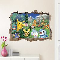 Wholesale 5pcs Cartoon D Waterproof Poke Wall Stickers Wall Decal for Kids Rooms Home Decorations Pikachu Amination Poster Wall Art Wallpaper