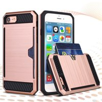 Cheap For Iphone 7 6s 6s Plus Samsung S7 S6 edge LG V10 New Armor Hybrid Brush Phone Case Cover With Credit Card Slot OPPBAG