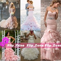 autumn bushes - Romantic Bush Pink Mermaid Wedding Dresses with Sweetheart Pleated Cascading Ruffles Organza Crystal Sash Lace Up Trumpet Bridal Gowns