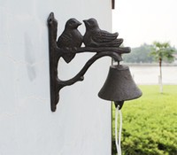 antique cast iron dinner bell - 2 Pieces Rustic Antique Style Cast Iron Chippy BIRDS on TWIGS BELL Dinner Windchime Wind Chime Primitive Brown