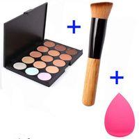 Wholesale 15 Color Concealer Palette Wooden Handle Brush Teardrop shaped Puff Makeup Base Foundation Concealers Face Powder Christmas gift