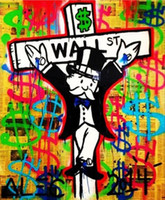 art museum wall - New Design Wall street Handmade Alec Monopoly Cartoon graffiti Pop Art oil Painting Canvas Museum Quality any coustomized size Available
