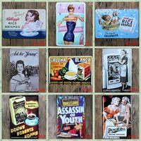 antique advertising posters - Hot sales quot Vintage Advertising quot retro iron metal wall painting Tin signs Vintage poster Art House Cafe Bar wall stickers home decor x30CM