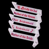 bachelorette gift lot - 5pcs wedding decoration bachelorette pink letters white Sash favors and gifts dress girl bridesmaid belts hen party decor