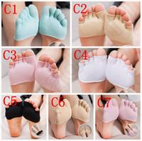 anti friction socks - 7 Design Women Invisible Half Toe Feet Socks Yoga Sock Anti friction Five Toe Separator Foot Care New Pair LJJJ53