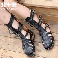 Wholesale 2016 New kids girls PU leather gladiator sandals high quality black white tassels open toed high top sandal shoes yards factory sale