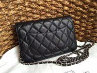 best designer dresses - Women messenger bags Best quality CC WOC bag black caviar chain genuine leather designer high quality grained shoulder bag