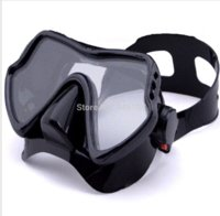 Wholesale 1piece black diving mask soft liquid silicone diving mask single lens tempered glass diving mask for adult diving freeshing