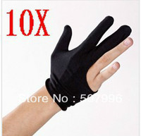 Wholesale 10PCS Nylon Finger Gloves Shooter Pool Billiards Cue Glove Black Indoor Game Kit Billiard Accessories
