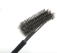 Wholesale 2016 cm Length Black Grill Brush BBQ Barbecue Cleaner Brushes in Head Design Plastic handle Steel Wire