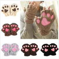 Wholesale Ladies Winter Fingerless Gloves Mittens Fluffy Bear Cat Plush Paw Claw Half Finger Glove Soft Half Covered Women Female Gloves b380
