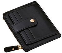 Wholesale Brand New Slim Design Fashion Womens Lady Genuine Leather Money Clip Wallet with Zipper Credit Card Coin Purse Wallets Short for Woman Black