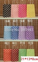 Wholesale 210 mm Hot Polka Dot kraft paper gift bag Festival gift bags Paper bag with handles