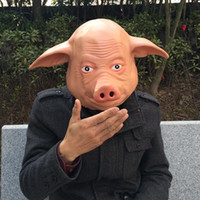 free size for adult and children adult funny full costumes - 2016 New Funny Pig Mask Creepy Animal Head Latex Mask Adult Size Horror Mask Halloween Party Mask Cosplay Pig Costume