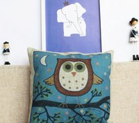 animal cushion pattern - Hot selling Modern style animal owl pattern on throw pillow sofa office back cushion cover cm decorative pillow cover