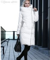 Wholesale 2016 high quality down jacket female thickening hooded loose big yards authentic white duck down jacket winter dust coat color white black