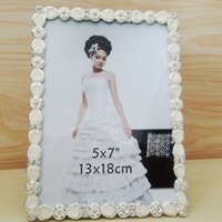 Wholesale 2016 Photo Frame Home Wedding Decoration flower Picture Photo Beautiful warm Frame Fashion Metal Alloy Frame with diamon PF