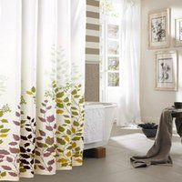 Wholesale New Maple Leaf Design Waterproof Fabric Shower Curtains Bathroom Decor With Curtain Hooks