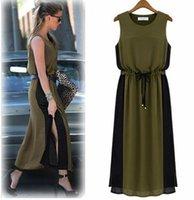 army dress code - 2016 sleeveless casual waist thin chiffon dress code splicing