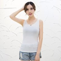Wholesale Tank Top Women New Women s Cotton Vest Render Garment Tops Velvet slim Sexy T shirt summer Pure color Vest ladies tops