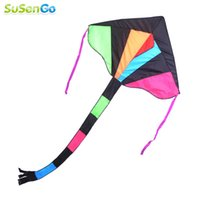Wholesale High Quality Nylon Rainbow Delta Kite Outdoor Fun Sports Toy Colorful Child Triangle Kites With Flying Tools