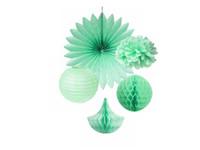 decorative fans - 5pcs Mint Kit Tissue Paper Party Decoration Pom Poms Fans Honeycomb Drops Lantern Fluffy Wedding Stage Flower Decoration Party Supplies