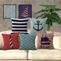 anchor textiles - sailing boat anchor buoy pillow Case Cushion cover Pillowcase Cover linen cotton Home soft Textiles beddng sets Christmas gift