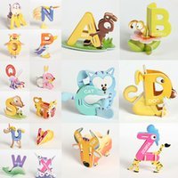 abc animal puzzle - Creative Cartoon Animal Design Alphabets Puzzles Letter Set A Z D DIY Educational Early ABC English Learning Toy for Kids