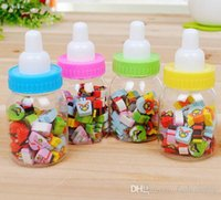 Wholesale 25pcs Mini Cute Cartoon Print Rubber Pencil Eraser For Children Stationery Gift With Feeding Bottle Shape Storage