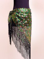 Wholesale New Belly Dance Costume Peacock Hip Scarf Tribal Fringe Tassel Belt colours