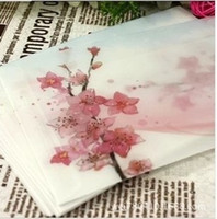 Wholesale China peach blossom painting design artificial parchment paper envelope size for post card