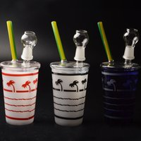 beach n - Starbuck In N OUT Coconut Tree Beach Shape Cup Oil Rig Glass Water Pipes Glass Bongs In Stock TA012